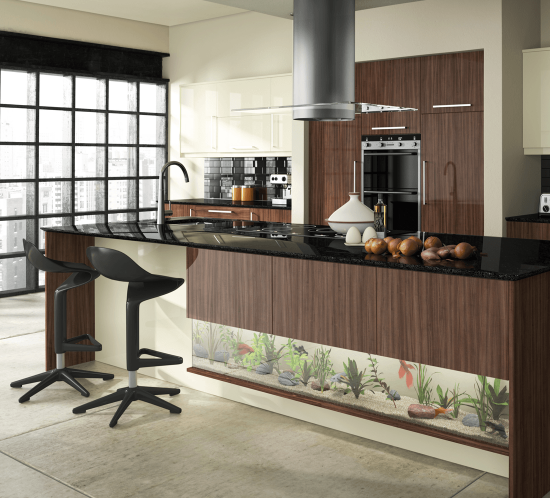 A kitchen with an integrated fish tank