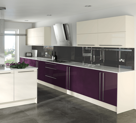 White kitchen with purple doors